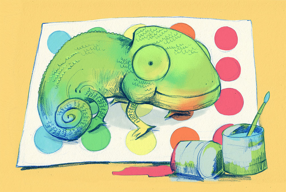 Illustrated Tales. Ramón, the green chameleon. Lucía Sánchez Ramos in www.cincominutitosmas.com